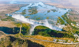 Victoria Falls in southern Africa on Zambezi River border betwee