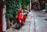 Red scooters, Istanbul, Turkey