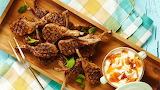 ^ BBQ Lamb Cutlets with Mango Chutney Mayonnaise