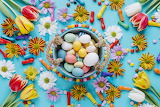 Holidays Easter Tulips Chrysanthemums Candy Balls 543701 1280x85