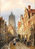 Dutch street scene-Willem Koekkoek