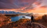 Man, mountains, fog, forests, sunset, islet, lake, landscape