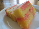 ^ Pink and yellow cake layered with lemon curd