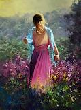 Jeune femme au milieu des fleurs