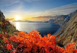 Sea, coast, cliff, mountain, vegetation, autumn, sunset, sun, br