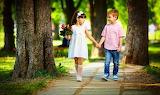 Children, park, bouquet, boy, dress, girl, hands, walk, trees, f