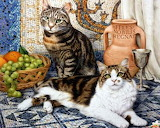 Geoffrey Tristram _ Two cats and fruit basket