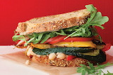 ^ Roasted vegetable sandwich with white beans