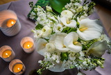 Flowers, bouquet, candles, Calla lilies, white
