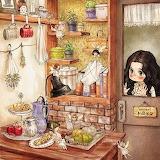 little girl behind the door