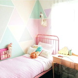 Pink bed, pastel wall, bedroom