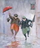 Splashing in rain puddles