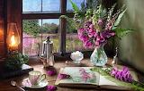 Flowers, style, lamp, bouquet, window, mug, Cup, sugar, book, fe