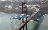 Space Shuttle over Golden Gate