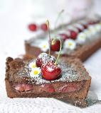Chocolate cheesecake cherry tart