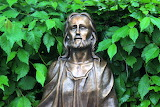 Jesus-statue-foliage-greens