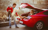 Car, people, woman, family, male, trunk, car, child