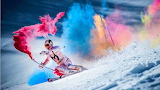 Skiing with Colorful Smoke