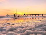 Winter sunrise activity pier Outer Banks