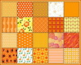 Patchwork Quilt Squares, orange tones