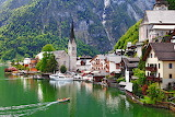 Hallstatt Austria Lake Church Boats Marinas