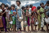 children waiting for food