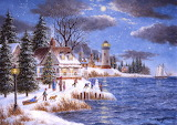 winter seascape village