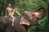 Girl, nature, face, elephant, dress, beauty, trunk