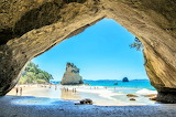 View through the rock arch new zealand