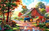 Barn-farm-summer-painting-thomas kinkade