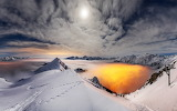 Mountains-ice-snow-winter-fog-sunset-sky-clouds-nature-landscape