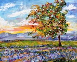 Original oil painting Provence Lavender Field Sunset palette kni