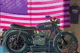 Triumph Motorcycle with American Flag