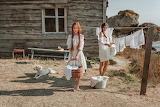 Old house, linen, dog, girls, basket, wash, rocks, nature