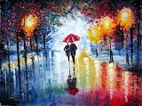 Walking couple under the rain