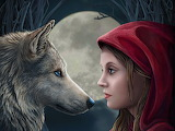 girl,wolf and moon