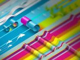 Abstract colorful paper rolls