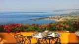 Sea, flowers, coast, Italy, table, terrace