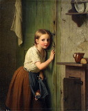 Girl Listening at the Door 1866 ~ Johann Georg Meyer von Bremen