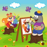 Animals painting cartoon