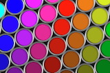 Multi colored tins of paint