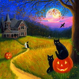 Halloween-night-moon-cats-pumpkins