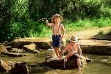 Boys, nature, children, river, stones, fishing, bucket, fisherme