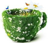 Art, cup, flowers