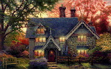 Thomas-kinkade-wallpaper-gingerbread-cottage-art-painting-party-