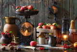 Still-life Kerosene lamp Apples Berry Wood planks 571300 1280x85