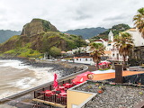 Sea, palm trees, rocks, coast, house, Portugal, Madeira, Porto d