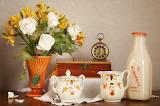 Still-life Roses Milk