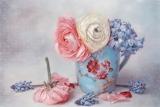 Flowers, petals, art, mug, Muscari, buttercups, hyacinths, Ranun