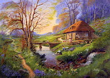 Cottage at the river painting